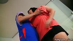 Mega-boobs fatty rides skinny guy's cock for money's Thumb