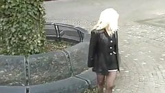 Showing pantyhose upskirt in public