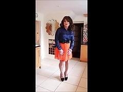 Orange pleated skirt