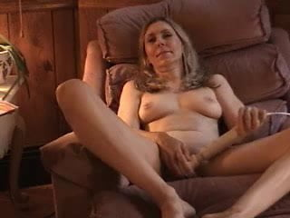 Masturbating milf on chair