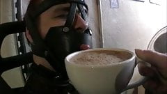 PUBLIC Bondage Coffee Humiliation FemDom Mistress StraitJack