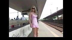 Horny Girl Flashing At Railway Station BVR