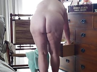 wifes big ass, hairy pussy, big tits, puts on pantys