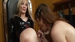 Hot blonde shemale gets head then fucks her tranny friend