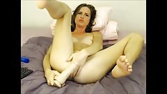 The Dildo in her ass makes her cum