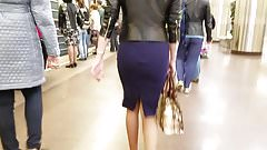 Thin girl in a blue skirt