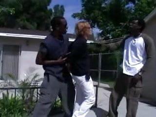 Two Black Men doing a Redhead Bimbo