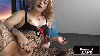 Lingeried amateur femboi solo pulling cock