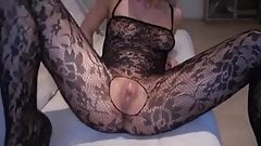 Sexy blonde in bodystocking creampied