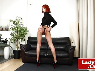 Preview 2 of Redhead ladyboy pulling her big cock solo