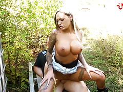 My Dirty Hobby - Busty tattooed babe fucked outdoors