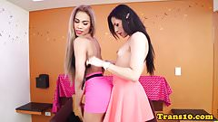 Latina tgirls buttfucking after masturbation