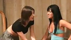 Two ladies plays with ugly man