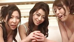 3 nice japanese girls licking and sucking american cock too