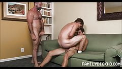 Bear Stepdad Coaches Twink Stepson And Best Friend Fucking