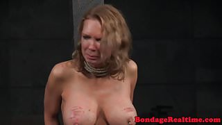 Bigtitted bdsm sub with scars gets canned