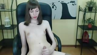 Cute girl plays with her penis --no cs