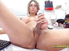 Big boobs blonde shemale jerks big dick