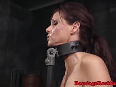 Redhead bdsm sub gags on black maledom cock