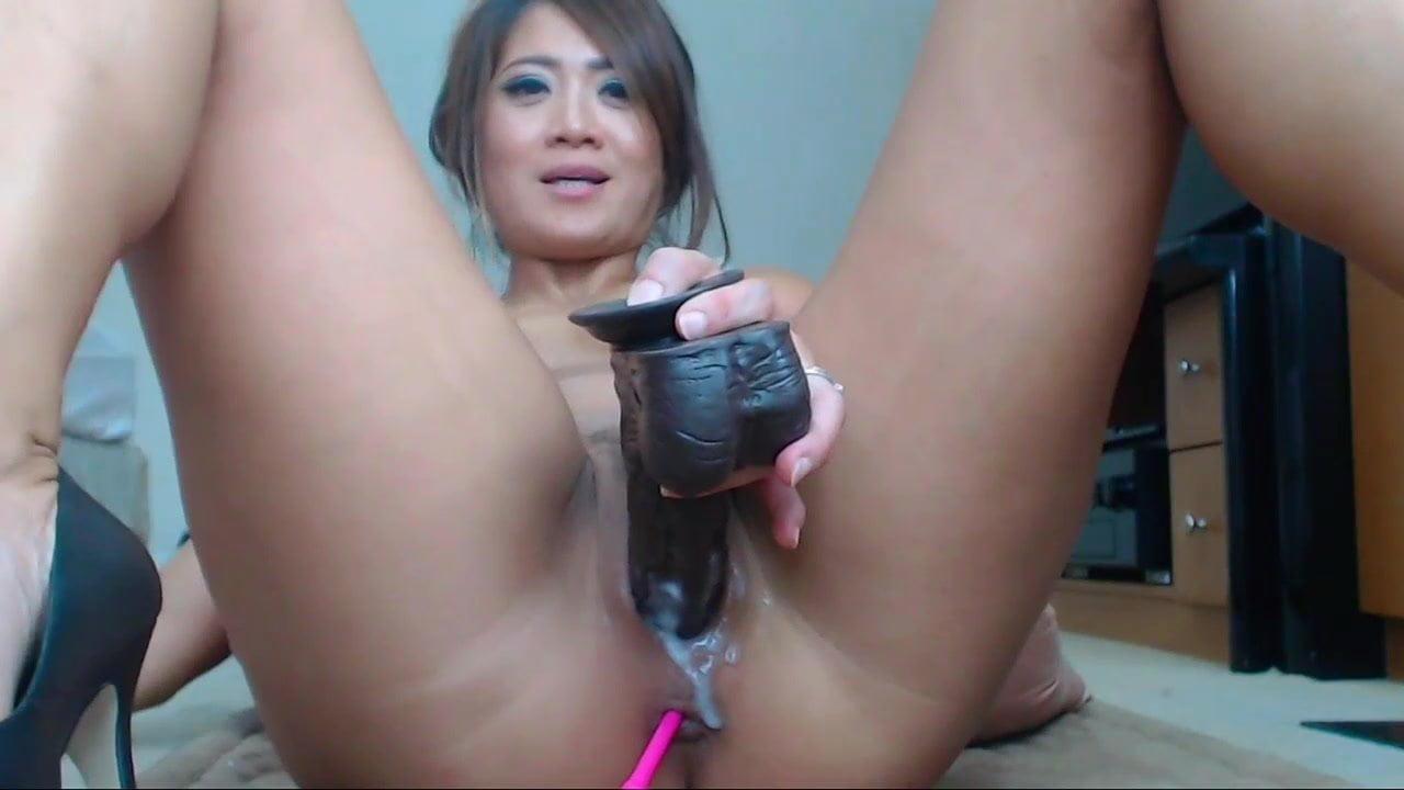 Chinese language lady masturbation by huge black dildo