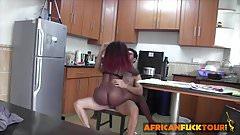 Busty redhead ebony gets white dick