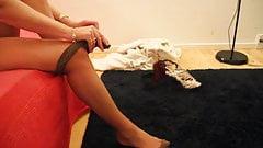 Putting on nylon pantyhose
