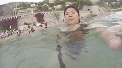 Asian wife in swimsuit big tits