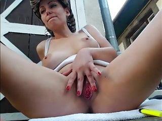 Hot sexy girl show the body outdoor, backyard. Part 2