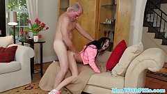 Teen student doggystyled hard by oldman