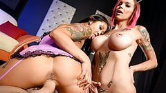 Anna Bell and Saya gets a nice fuck by a huge white cock