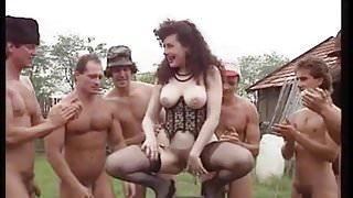 Hairy Italian is pissing while anal gangbang