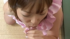 Cute little whore gets her pretty face Jizzed