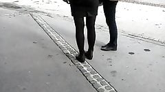 spy milf  pantyhose in the street