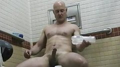 Str8 daddy fleshlight in public toilet
