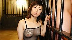 Slutty brunette in fishnet bodystocking, Kana Mimura is suck