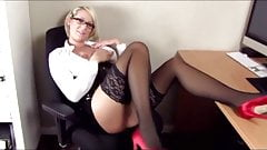 Hot German Busty Blonde Secretary Fucked and Facial