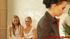 Mistress dominates sub babes in threesome