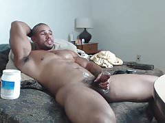 Muscle God Samson Biggs Jerks Off His Big Cock Until He Cums