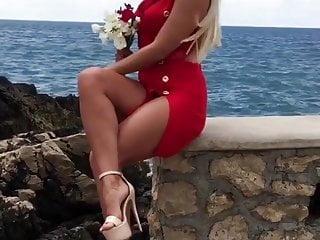 HOT SERBIAN MILF in short red dress and high heels hot legs