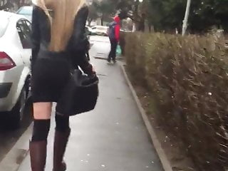 Spy Sexy Blonde Girl Walking On Romanian Streets