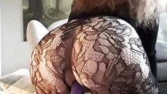 Gorgeous fat ass riding a dildo