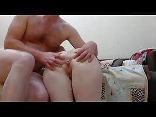 Handcuffed and blindfolded babe fucked in a homemade clip