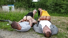 Family Cums First - Roadside Creampie