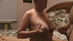 Wanking-off on Her #12 (Granny GILF Cumshot on her Boobs)