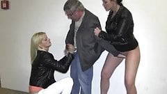 Old guy meets 2 hot girls