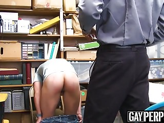 Hot inked thief gets barebacked by officers huge black dick