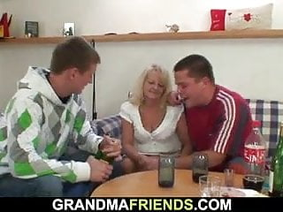 Two buddies fuck boozed old granny
