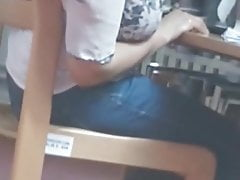 Candid Indian Feet Shoeplay in Library