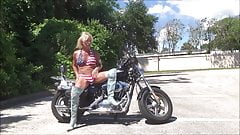 denim biker chick in chastity device