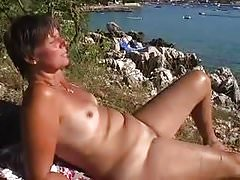 recording Hot Wife vacation beach naked